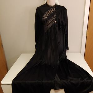 Vintage Gilead goth black robe with lace